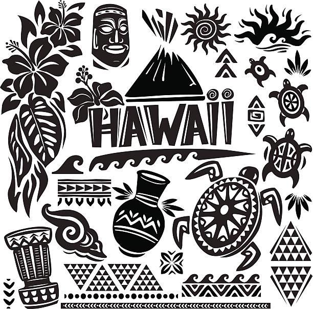Hawaii Set Hawaii Set hawaiian culture stock illustrations