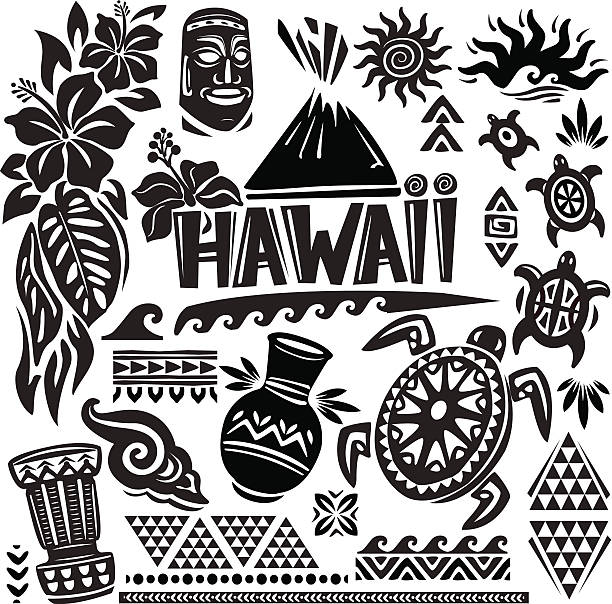 Hawaii Set Hawaii Set big island hawaii islands stock illustrations