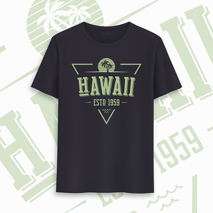 Hawaii state graphic t-shirt design, typography, print. Vector illustration.