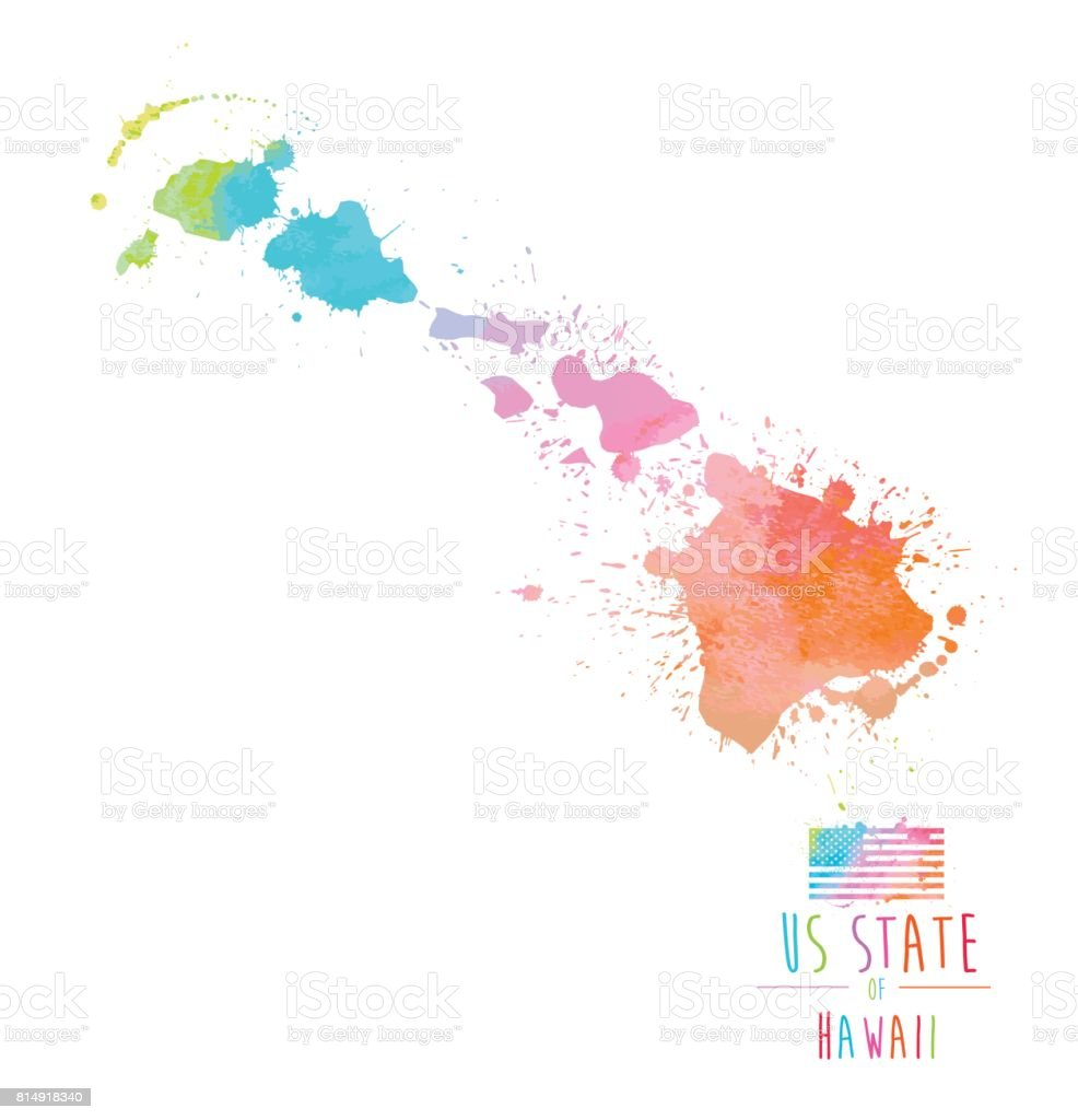 Splash Acuarela Del Estado De Hawaii - Arte vectorial de stock y más ...