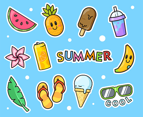Hawaii stickers set for embroidery fashion designs