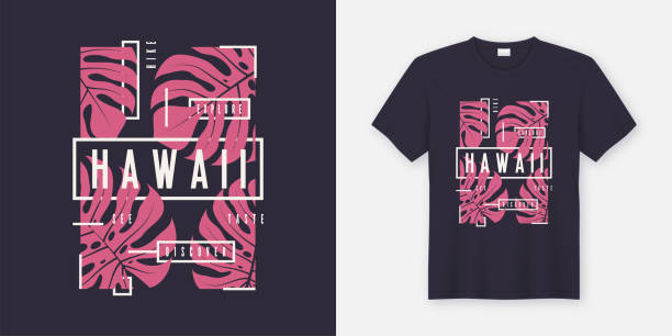 hawaii stylish t-shirt and apparel modern design with tropical leaves, typography, print, vector illustration. - beach fashion stock illustrations, clip art, cartoons, & icons