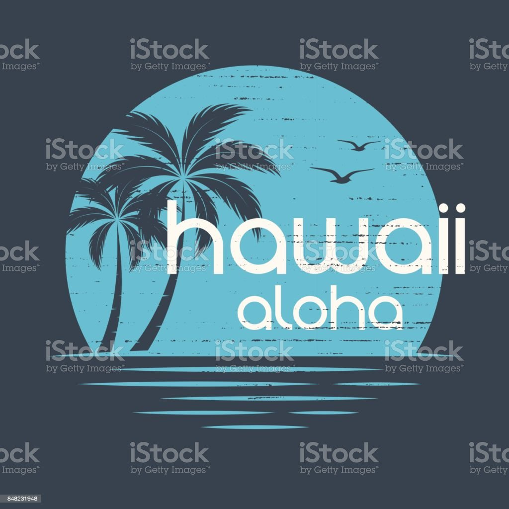 Hawaii Sunset. T-shirt and apparel vector design, print, typography, poster, emblem with palm trees. vector art illustration