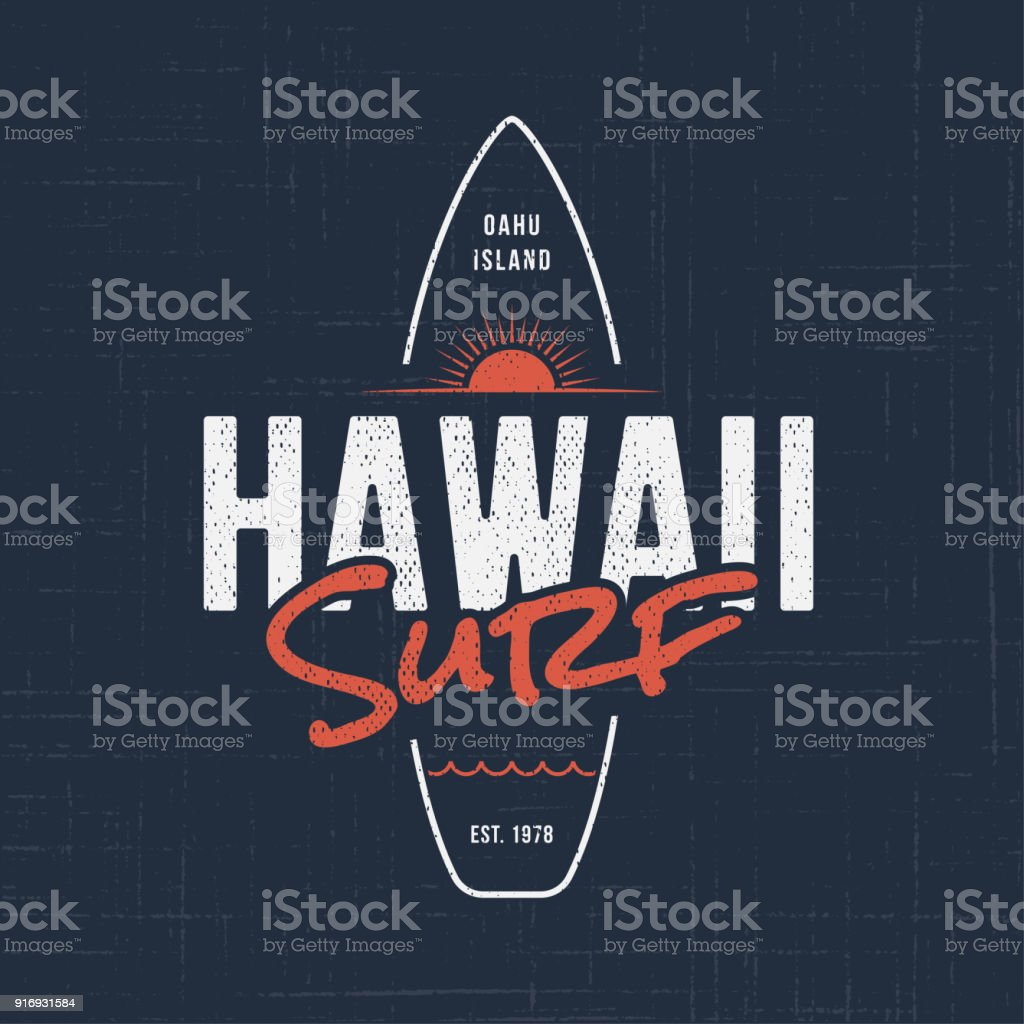 Hawaii surf. T-shirt and apparel design vector art illustration