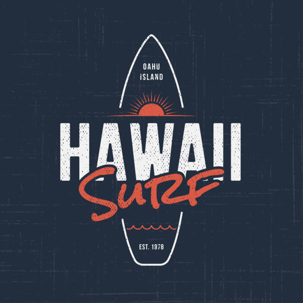 Hawaii surf. T-shirt and apparel design Hawaii surf. T-shirt and apparel vector design, typography, print,  , label, poster Global swatches surf stock illustrations