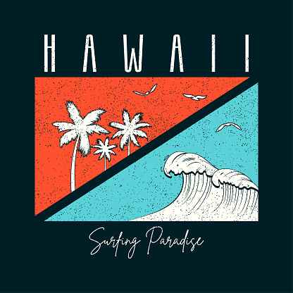 Hawaii surf typography for t-shirt with palm trees and wave.