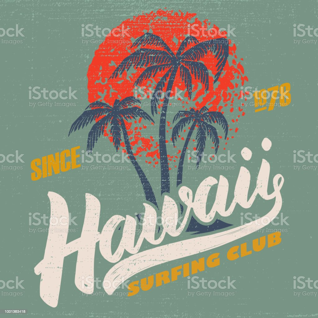 hawaii surfing club poster template with lettering and palms stock