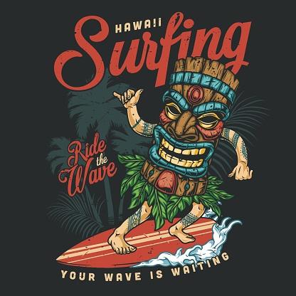 Hawaii surfing vintage colorful badge