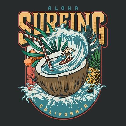 Hawaii surfing vintage logo