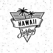 Vector illustration on the theme of surf and surfing in Hawaii. Vintage design. Grunge background. Typography, t-shirt graphics, print, poster, banner, flyer, postcard