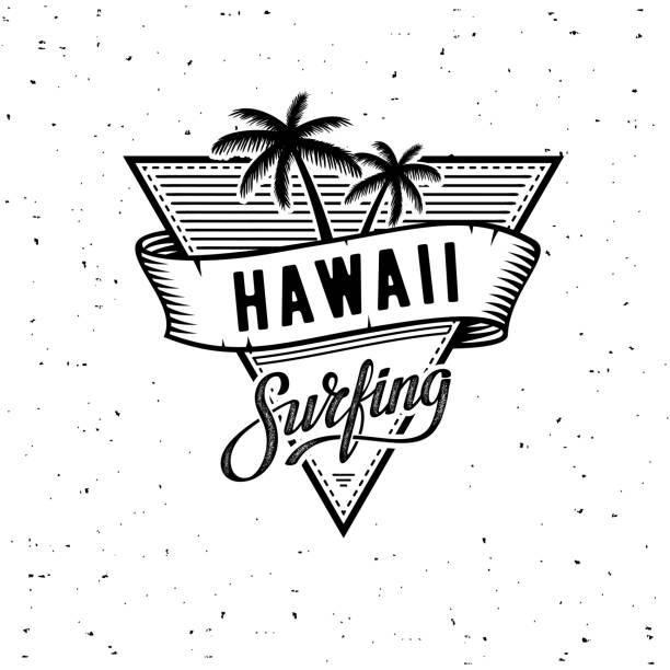 Hawaii Surfing WB Vector illustration on the theme of surf and surfing in Hawaii. Vector illustration on the theme of surf and surfing in Hawaii. Vintage design. Grunge background. Typography, t-shirt graphics, print, poster, banner, flyer, postcard surf stock illustrations