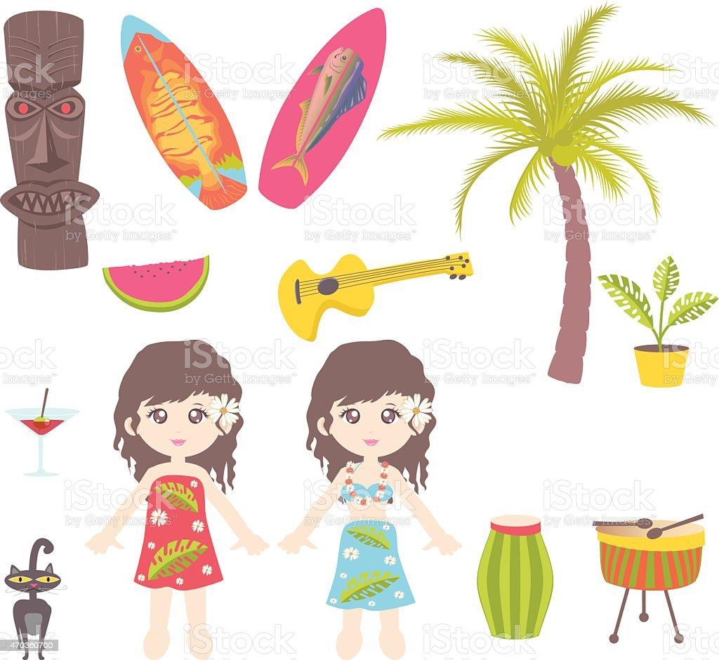 Hawaii Symbols and Icons vector art illustration