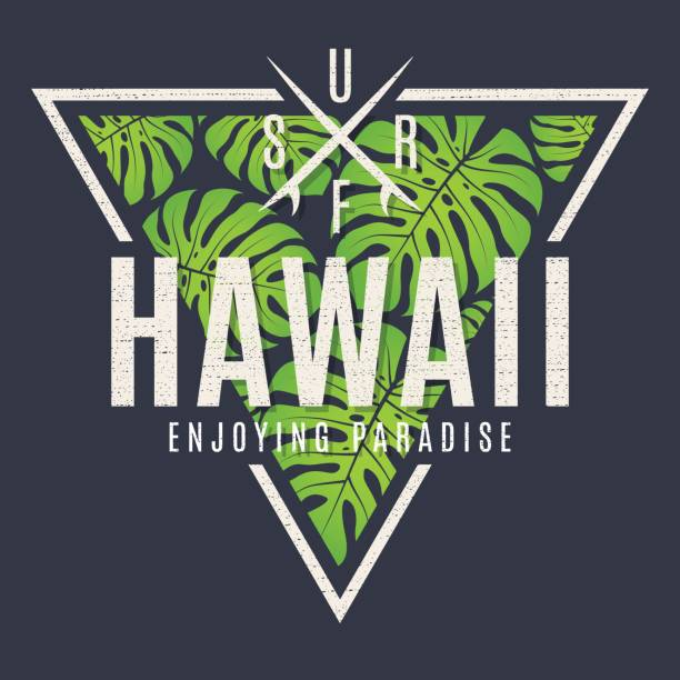 Hawaii tee print with with tropical leaves. vector art illustration