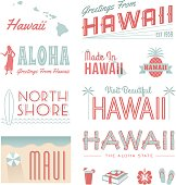 A set of vintage-style icons and typography representing the state of Hawaii. Each items is on a separate layer. Includes a layered Photoshop document. Ideal for both print and web elements.