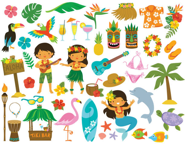 Hawaii Tropical Clip art Tropical clipart set. Hawaii hula dancers, Beach related items and other cartoons for summer. beach clipart stock illustrations