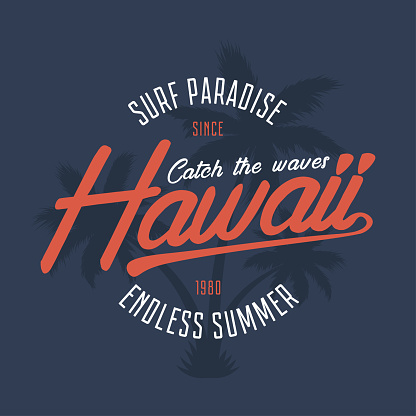 Hawaii typography graphics for t-shirt. Tee shirt surfing print with palm trees. Hawaiian summer stamp for vintage apparel. Vector