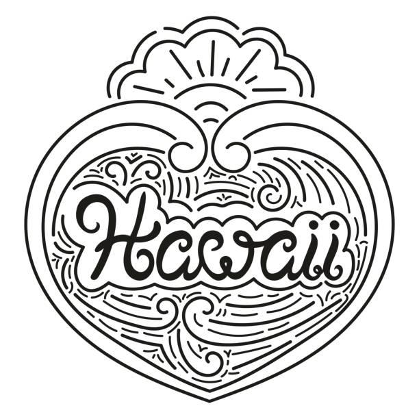 ilustraciones, imágenes clip art, dibujos animados e iconos de stock de vector de ilustración de tipografía de hawaii - tipos de letra de tatuajes