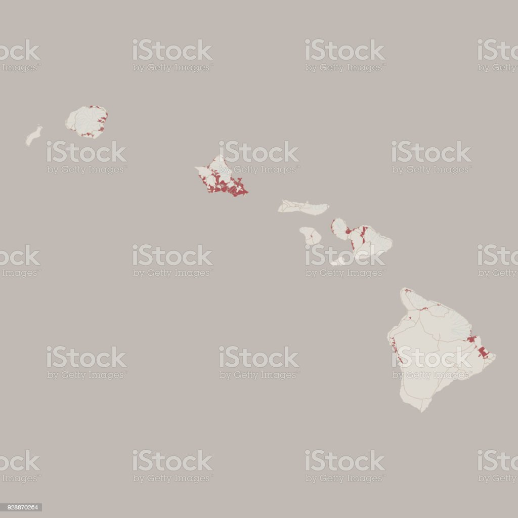 Hawaii US State Road Map vector art illustration