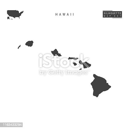 Hawaii US State Blank Vector Map Isolated on White Background. High-Detailed Black Silhouette Map of Hawaii.