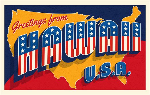 Hawaii USA retro style postcard with patriotic stars and stripes