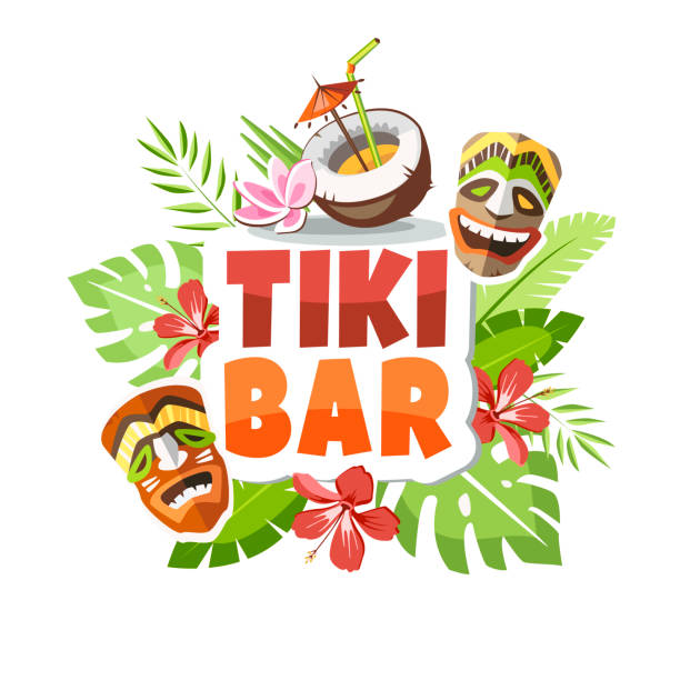 hawaii tiki bar hawaii party time holiday vacation creative big island hawaii islands stock illustrations