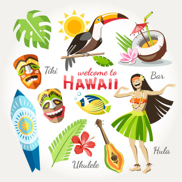 hawaii hawaii vector collection of traditional objects set with bird toucan girl dan?ing hula tiki mask ukulele surf and tropical leaves and flowers cocktail and fish hawaiian culture stock illustrations