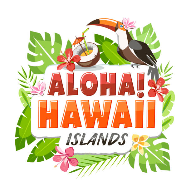 hawaii Aloha Hawaii sticker header lettering with toucan and tropical leaves background big island hawaii islands stock illustrations