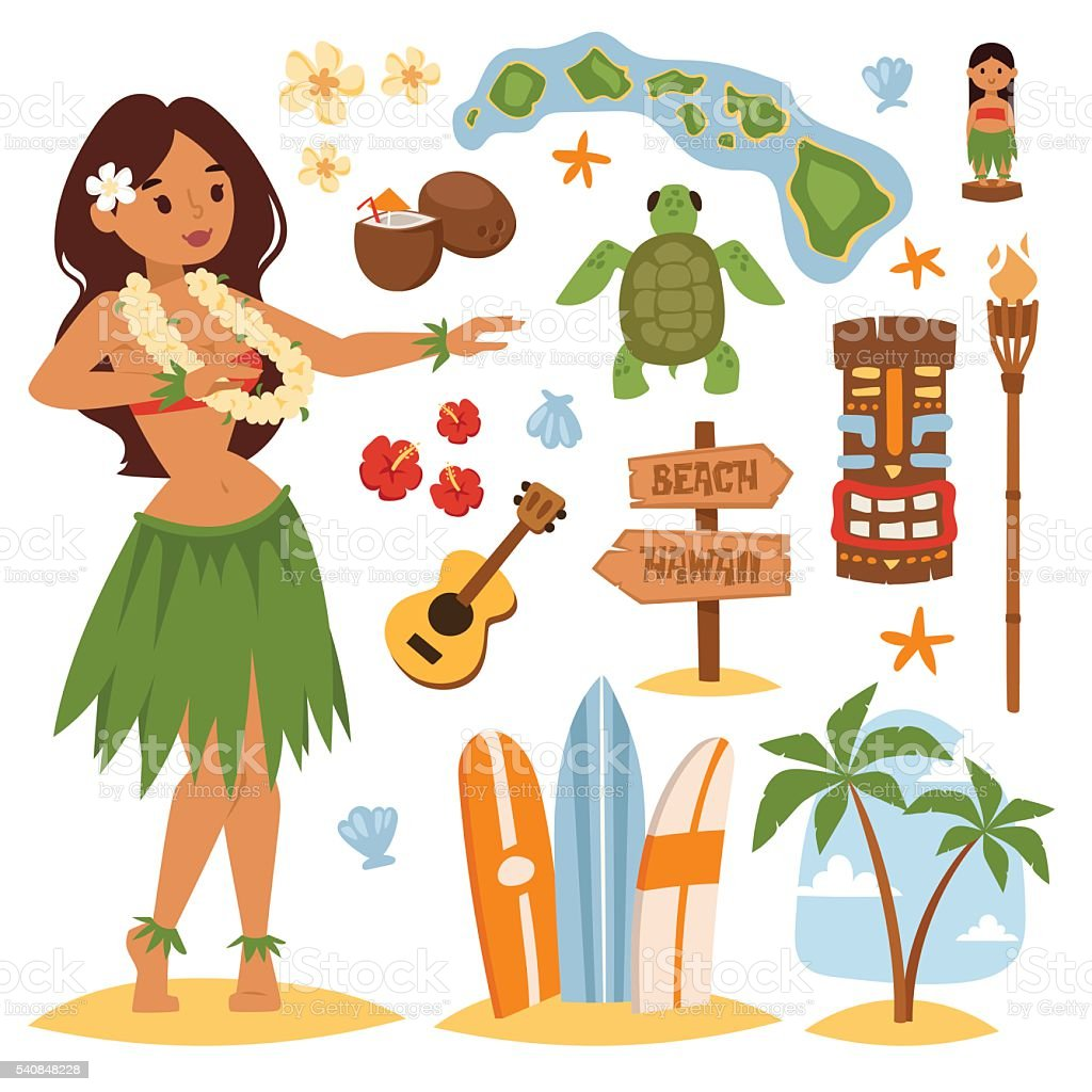 Hawaii vector set. vector art illustration