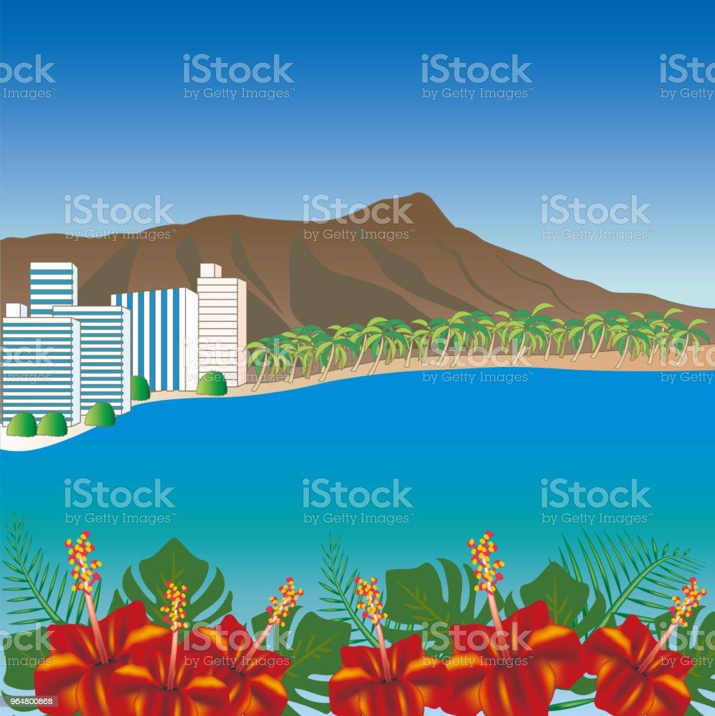 Hawaii Waikiki Beach scenery royalty-free hawaii waikiki beach scenery stock vector art & more images of beach