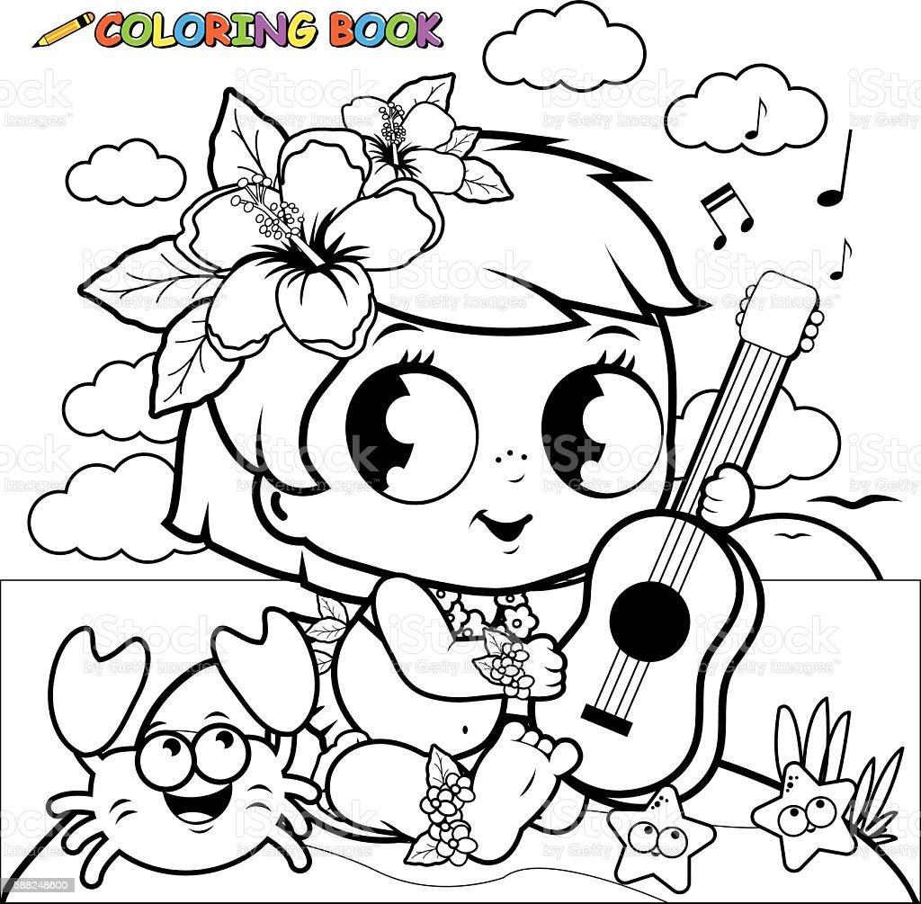 Hawaiian baby girl on an island playing the ukulele. vector art illustration