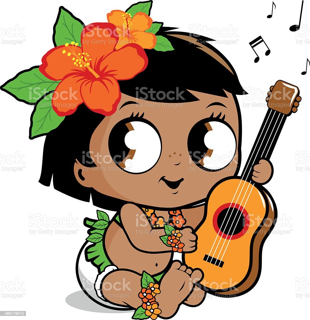 Hawaiian baby girl playing the ukulele vector art illustration