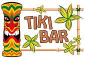 Hawaiian Banner With Tiki Statue