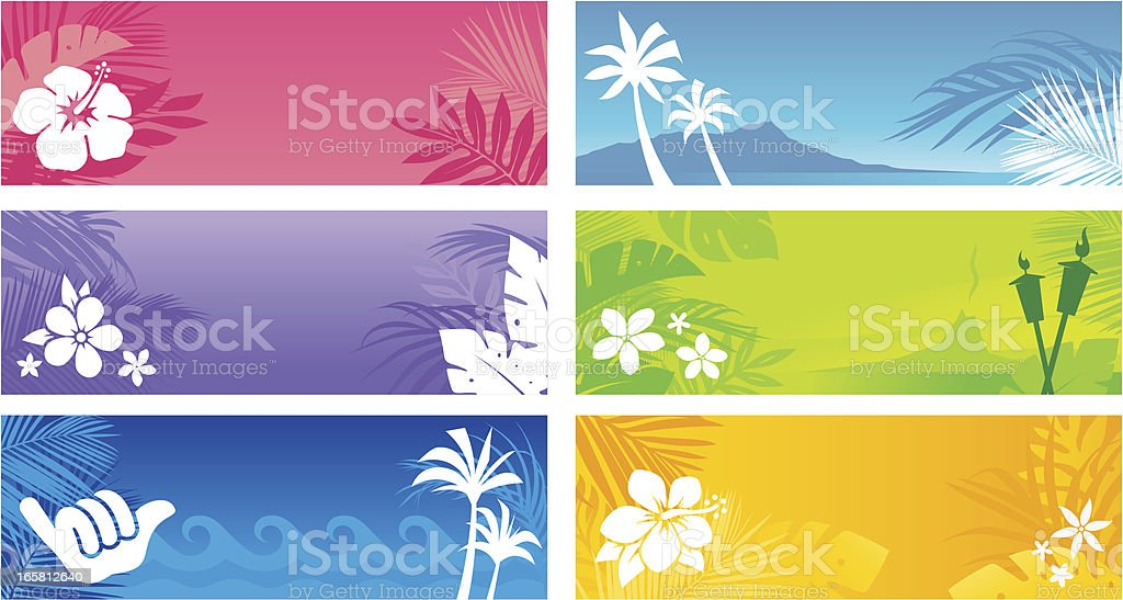 Hawaiian Banners vector art illustration