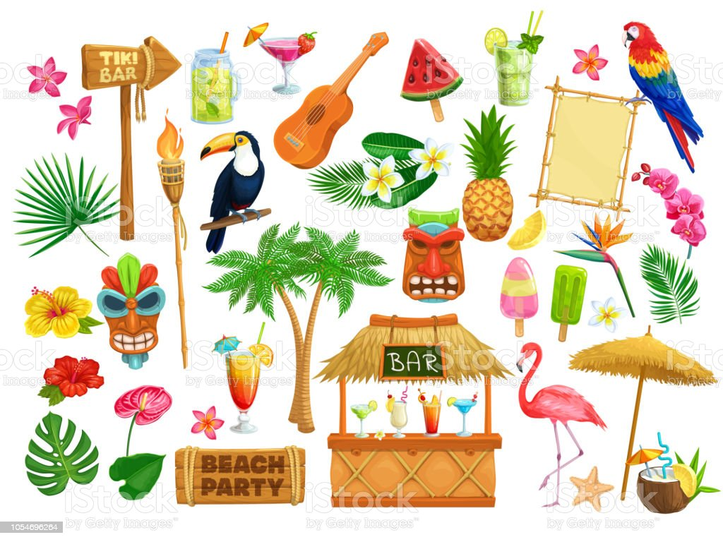 Hawaiian Beach Party Icons Stock Illustration - Download ...