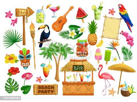 istock hawaiian beach party icons 1054696264