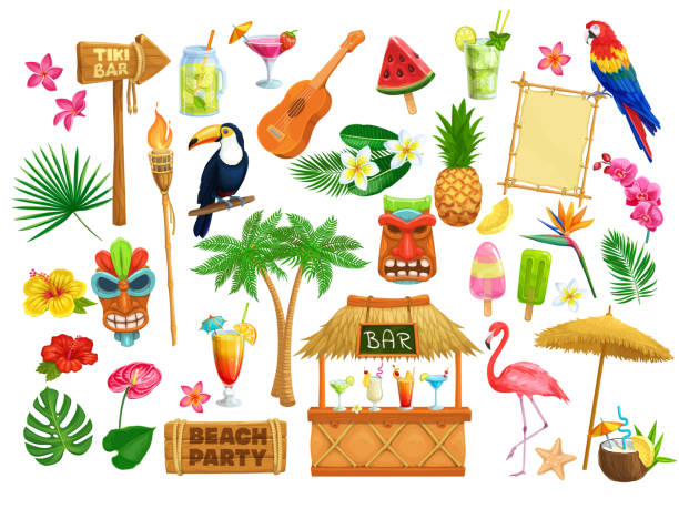hawaiian beach party icons Vector hawaiian beach party icons. Tiki tribal mask, wooden signboard, tropical birds, cocktails, watermelon, torch, leaves and flowers. Guitar, fruit ice and pineapple for design luau holiday. hawaiian culture stock illustrations