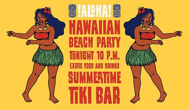 hawaiian beach party tiki bar flyer design with hula girls - hawaiian lei stock illustrations, clip art, cartoons, & icons