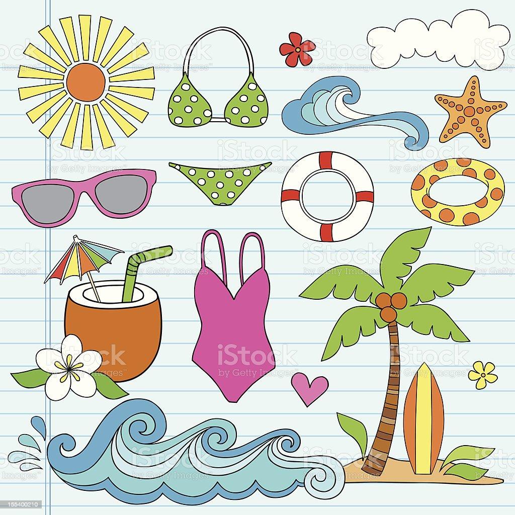 Hawaiian Beach Summer Vacation Doodles Set vector art illustration