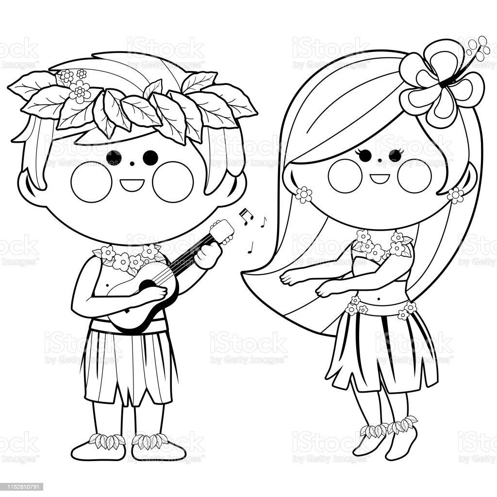 Ilustración De Niños Hawaianos Tocando Música Y Bailando Hula Vector
