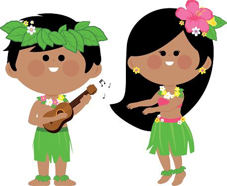 Hawaiian children playing music and hula dancing