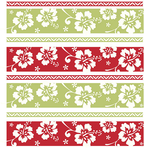Hawaiian Christmas Pattern Christmas Hibiscus Pattern big island hawaii islands stock illustrations