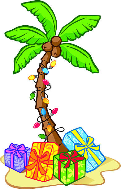 hawaiian christmas tree vectorkunst illustratie california palm - Palm Tree Christmas Tree