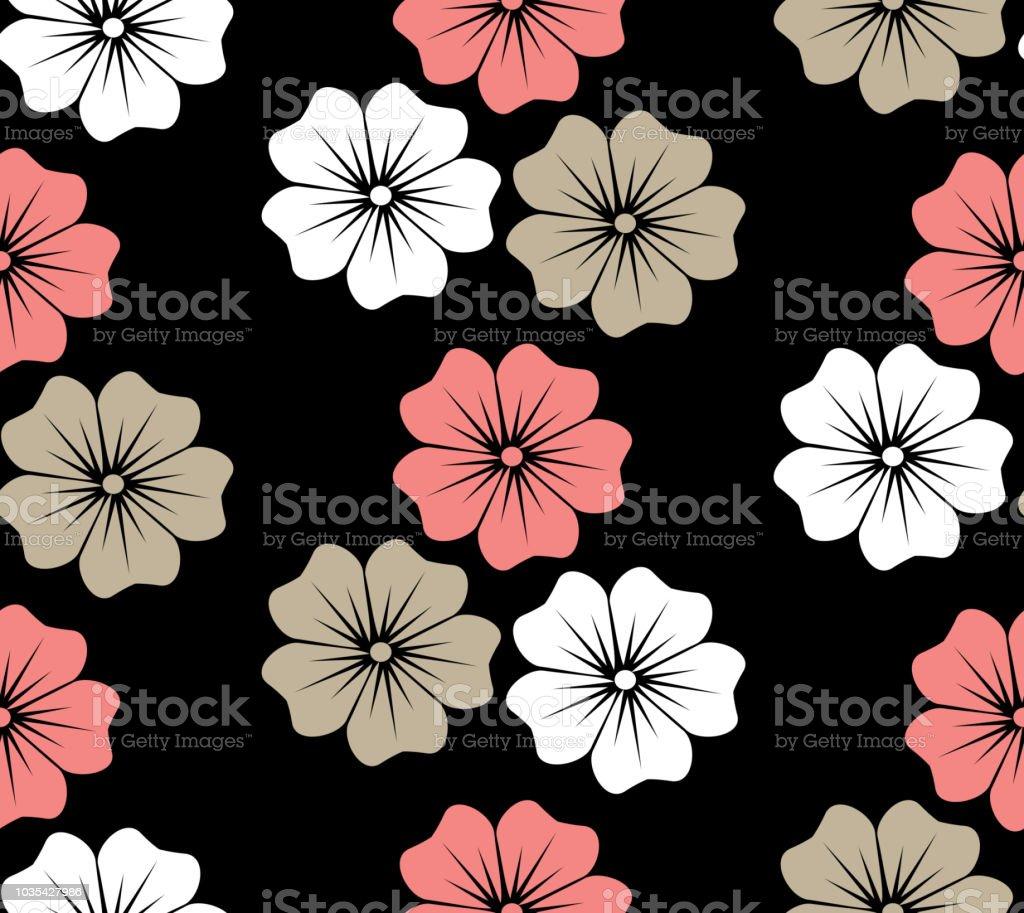 Hawaiian Flower Blossom Floral Decorative Seamless Pattern Stock
