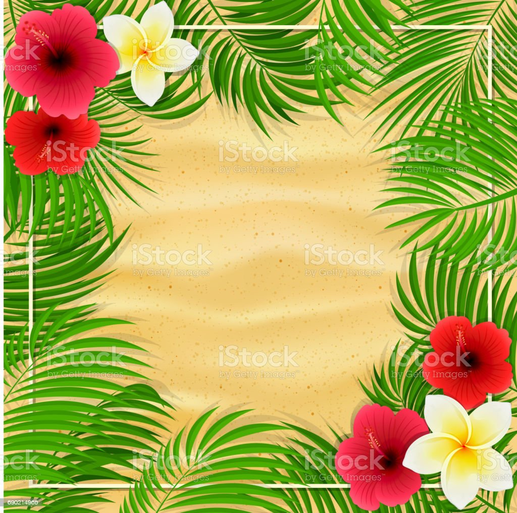 Hawaiian Flowers And Palm Leaves On Sandy Background Stock Vector