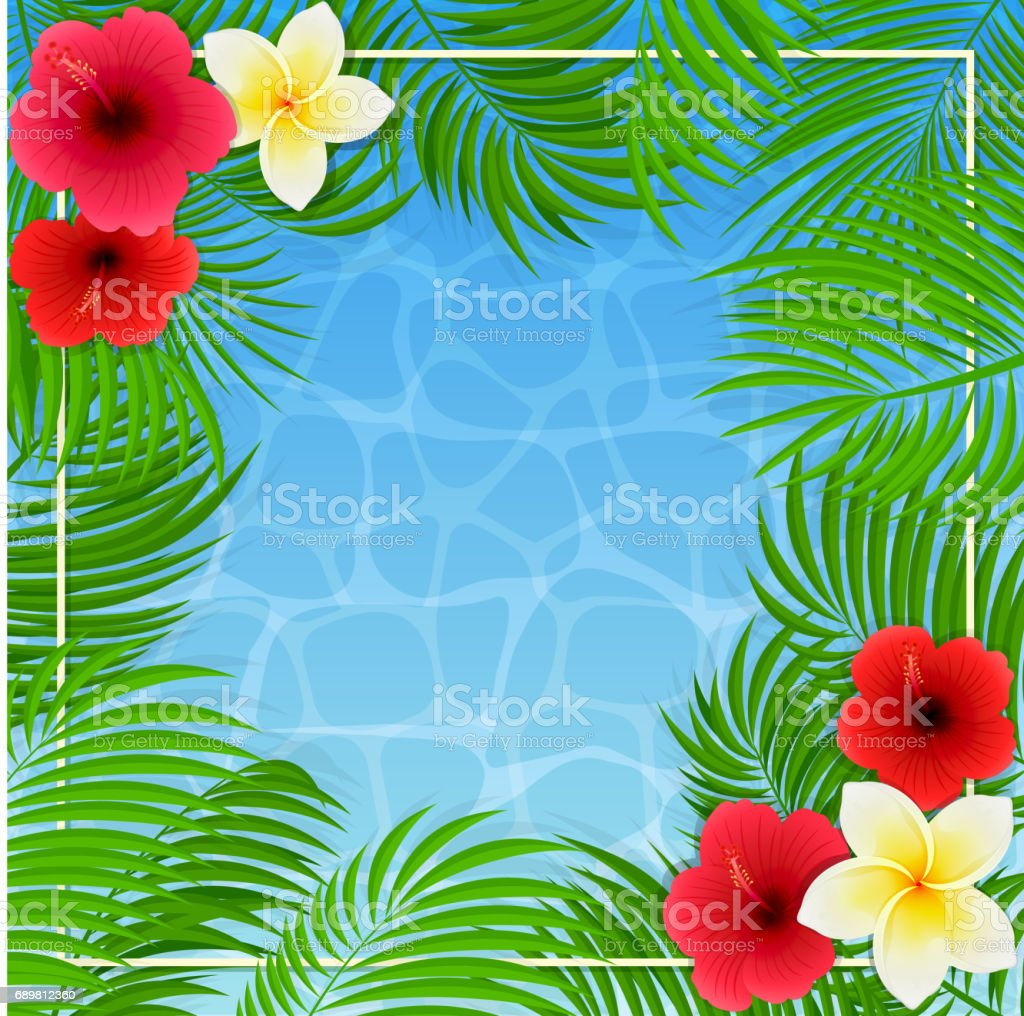 Hawaiian flowers and palm leaves on water background stock vector hawaiian flowers and palm leaves on water background royalty free hawaiian flowers and palm leaves izmirmasajfo