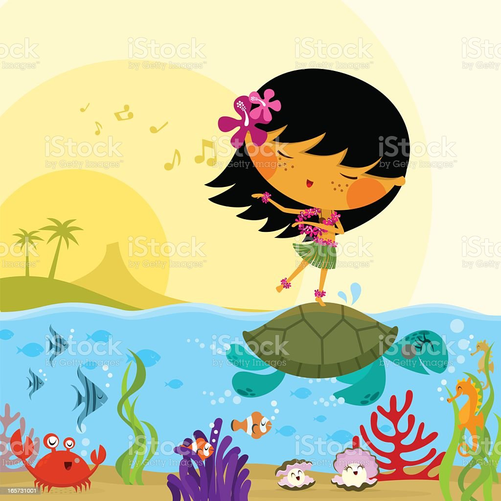 Hawaiian girl sealife underwater hawaii sea cute illustration vector vector art illustration
