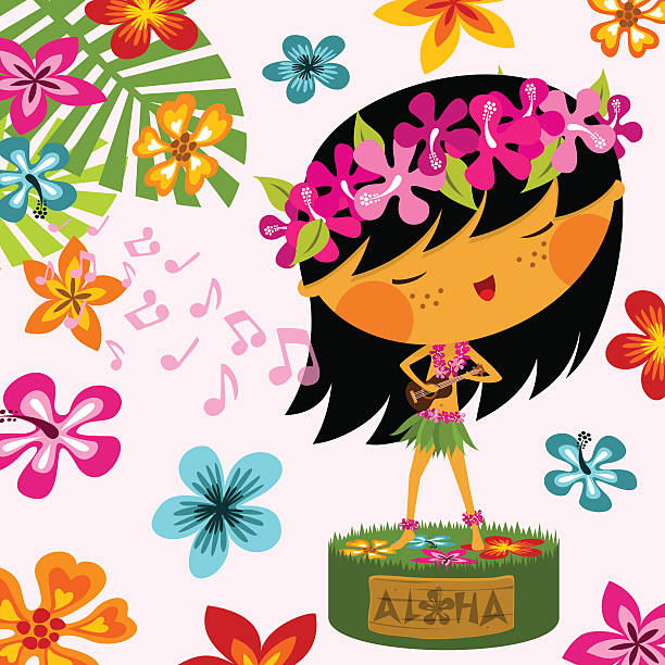 hawaiian girl - hawaiian lei stock illustrations, clip art, cartoons, & icons