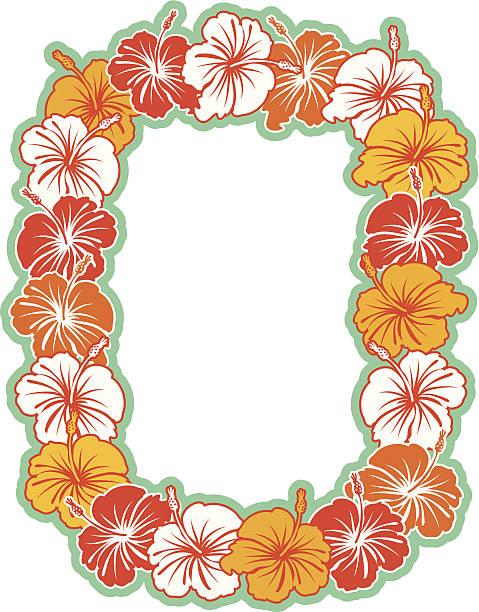 hawaiian hibiscus wreath background - hawaiian lei stock illustrations, clip art, cartoons, & icons