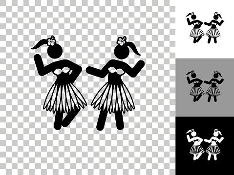 Hawaiian Hula Dance Icon on Checkerboard Transparent Background