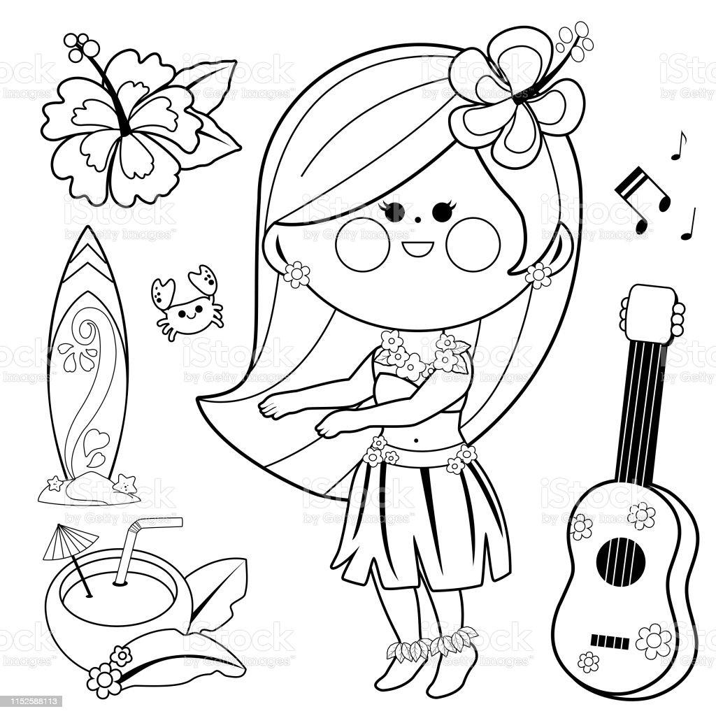 hawaiian hula dancers coloring pages | Hawaiian Hula Dancing Girl Vector Black And White Coloring ...
